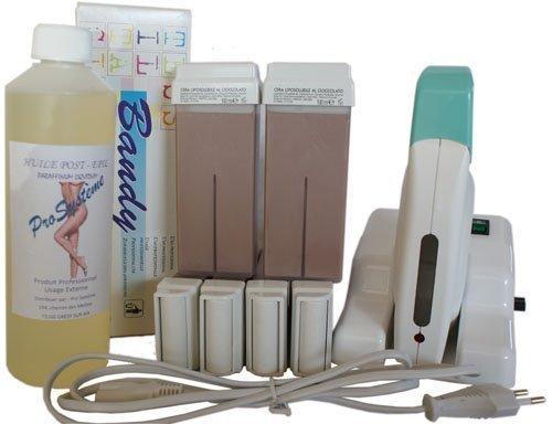 EPILWAX S.A.S - Kit D'Depilatorio Modular Completo De La Cera Desechables de Chocolate, con Dentado Grande Modelo para los animales piernas, axilas, y el corporal