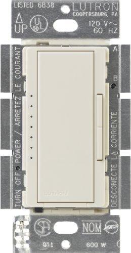Lutron MAELV-600-LA Maestro 600-watt Multi-Location/Single Pole Electronic Low-Voltage Digital Fade Dimmer, Light Almond by...