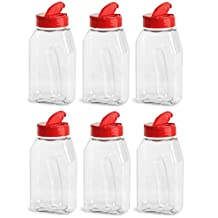 Nakpunar 16 oz Clear PET Plastic Spice Jars with Red Shaker and Open Sided Lined Dispenser Caps - Set of 6
