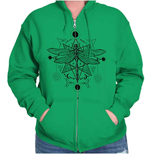 Spirit Dragonfly Symbolic Spirit Animal Zip Hoodie Irish Green