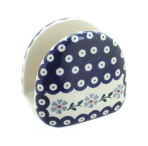 Blue Rose Polish Pottery Blue Violet Napkin Holder