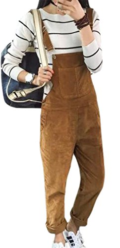 Hokny TD Women's Stylish Corduroy Straight Leg Overalls with Pocket Bib Yellow M