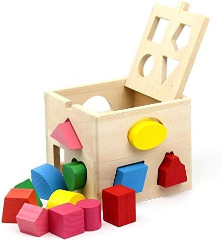 13PCSは0-3歳の男の子と女の子のためのソートキューブクラシック木製玩具、発達玩具形状 (色 : Multi-colored)