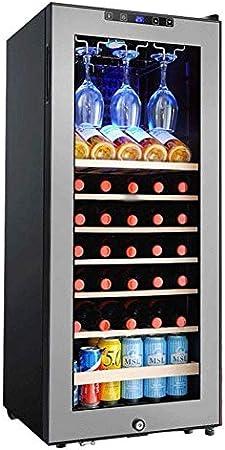 YFGQBCP 33 Botella Doble Zona termoeléctrica Enfriador de Vino - Vino Tinto y Blanco Chiller - encimera Bodega - Independientes Frigorífico con Pantalla LCD Touch Control Digital