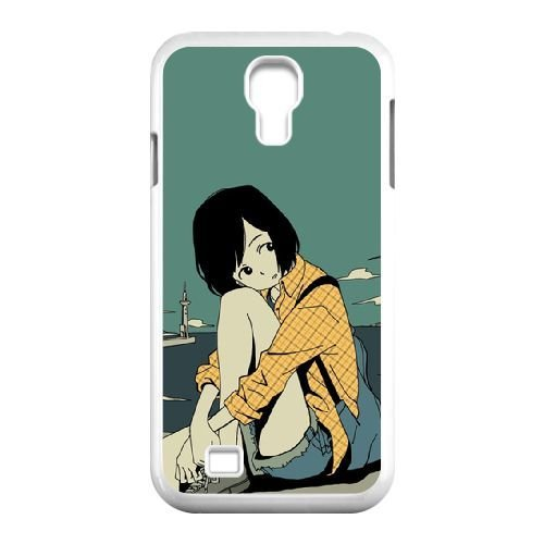 samsung s4 9500 Case,Youthful Girl and Island Scenery Pattern Durable Hard Plastic Scratch-Proof Protective Case,White