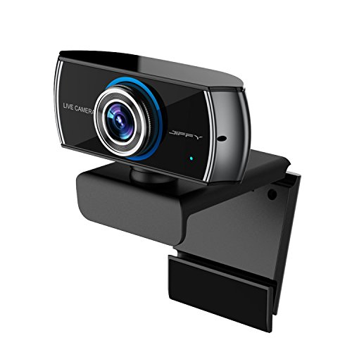 JIFFY C100 FULL HD 1080P Streaming Webcam with Microphone and H.264 technology, Widescreen Video Calling and Recording, Desktop or Laptop Webcam