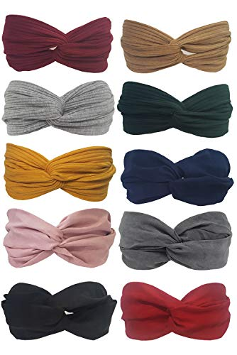 BeautyN 10 Pack Headbands for women Boho Bands Twisted Headband Criss Cross Head wraps Bows Hair Accessories for Women and Girls (10p_101) -