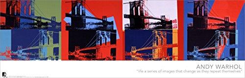 Beyond The Wall Andy Warhol Brooklyn Bridge Quad Fine Pop Art Poster Print 12 by 36