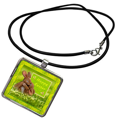 3dRose Beverly Turner Easter Design and Photography - Cute Bunnies Hugging in The Clover, Happy Easter, Egg Accents - Necklace with Rectangle Pendant (ncl_313277_1)]()
