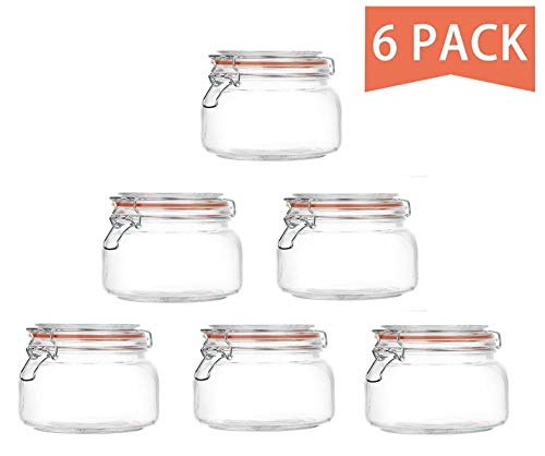 Jars With Airtight Lids And Leak Proof Rubber Gasket,Wide Mouth Mason Jars With Hinged Lids For Kitchen,Glass Storage Containers 6 Pack ()