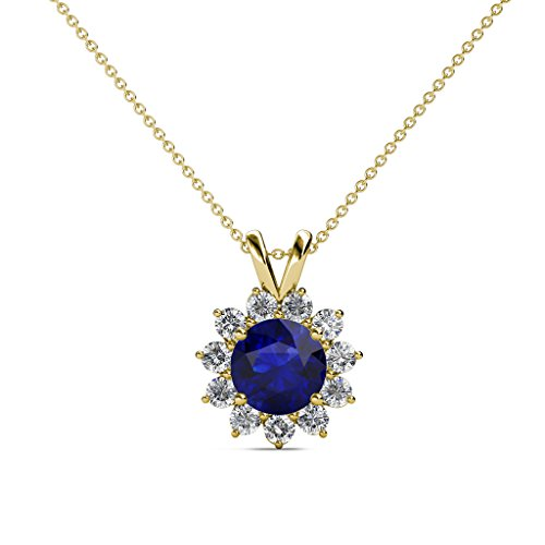 Blue Sapphire and Diamond (SI2-I1, G-H) Floral Halo Pendant 1.28 cttw in 14K Yellow Gold 14K Gold Chain