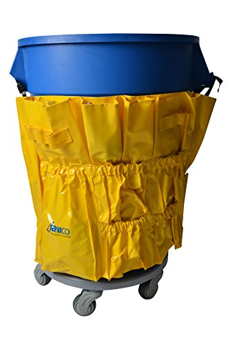 (Janico Yellow Janitorial Caddy Bag Fits 32 44 Gallon Round Garbage Can Containers 12 Pockets)