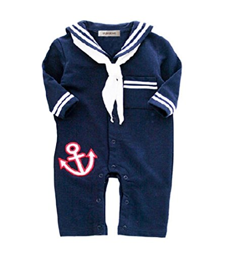StylesILove Baby Boy Sailor Anchor Costume Jumpsuit (95/18-24 Months, Navy Blue) - Little Boy Prince Costume