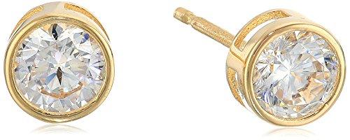 14kt Yellow Gold Bezel Set Round-Cut Cubic Zirconia Stud Earrings (3/4 cttw., Diamond Equivalent)
