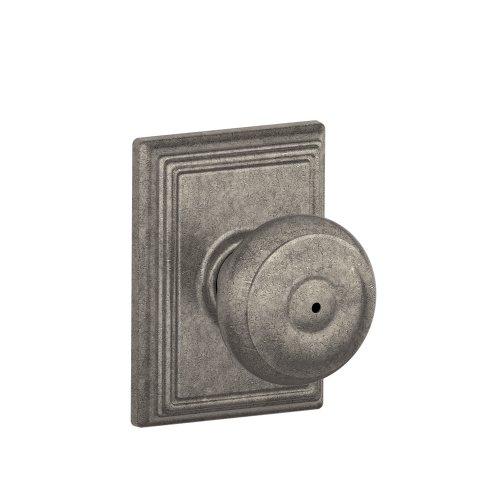 Schlage Lock Company F40GEO621ADD Addison Collection Georgian Privacy Knob, Distressed Nickel
