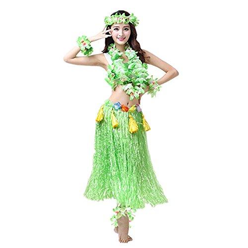 Prettycos 8PCS Hawaiano Hula Vestido Falda Hierba Guirnaldas de Flores Accesorios de Playa Dance Costume Disfraces