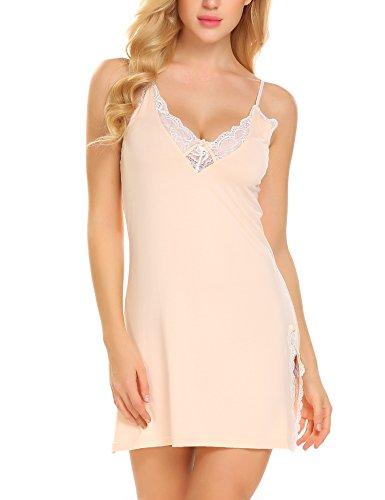 (Ekouaer Sexy Lace Chemise Sleepwear Cotton Nightgown Lingerie For Women ,Beige(cotton))