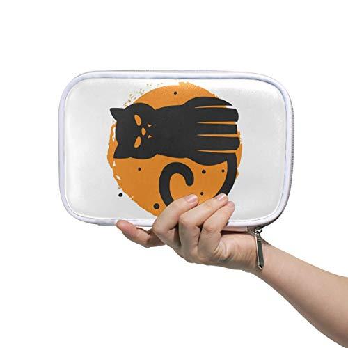 MONTOJ Spooky Halloween Cat Makeup Brush Bag Pencil Case with Zipper Closure Large Capacity Pen Organizer -