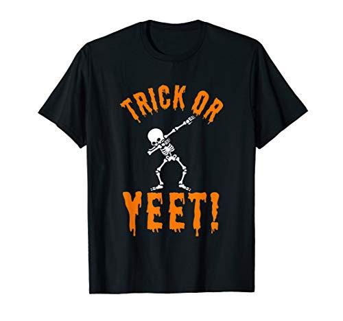 Halloween Trick Yeet Quote Dabbing Skeleton Clip Art Funny T-Shirt