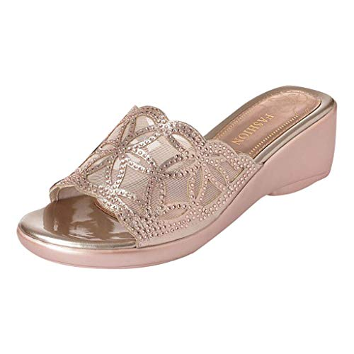 HHei_K Summer Fashion Outside Slope-Heeled Sandals Open-Toed Sequined Printed Slippers Shoes for Women Flats Comfortable -