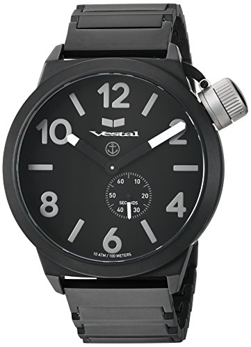 Vestal 'Canteen Metal' Quartz Stainless Steel Casual Watch, Color Black (Model: CNT453M06.1BKM)