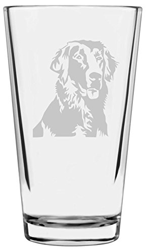 Flat-Coated Retriever Dog Themed Etched All Purpose 16oz Libbey Pint Glass