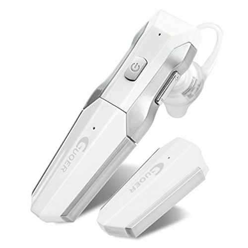 GUOER Bluetooth Headset with Backup Battery Noise Cancellation Wireless Bluetooth Earpiece With Microphone Driving Handsfree Earbuds(White/Silver)