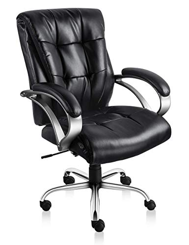 Executive Office Chair Ergonomic Office Chair PU Leather Mid Back Home Office Chair with Thick Padded Arms(Black)