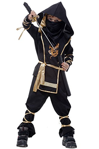 Kid's Halloween Party Dress Up Japanese Martial Arts Ninja Cosplay Costume Full Sets Suit -