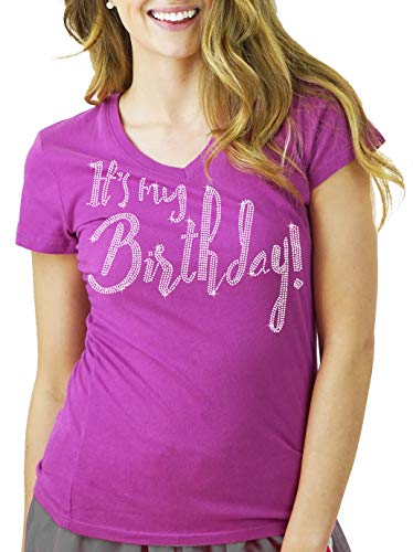- Birthday Shirts - Its My Birthday Rhinestone T-Shirt - Birthday Party Supplies - Junior Fit V-Neck Tee - Medium - Lilac Purple
