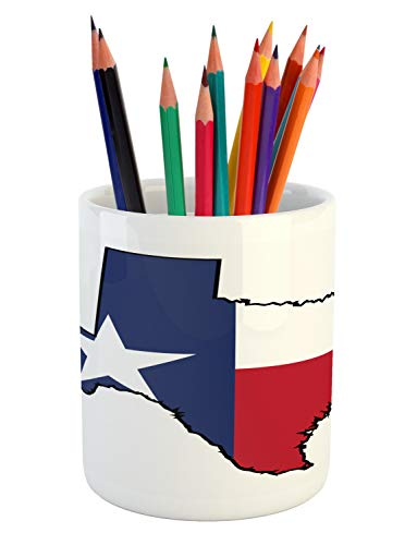 Lunarable Texas Pencil Pen Holder, State Flag on Map Outline Lone Star United States of America, Printed Ceramic Pencil Pen Holder for Desk Office Accessory, Night Blue White and Dark Coral