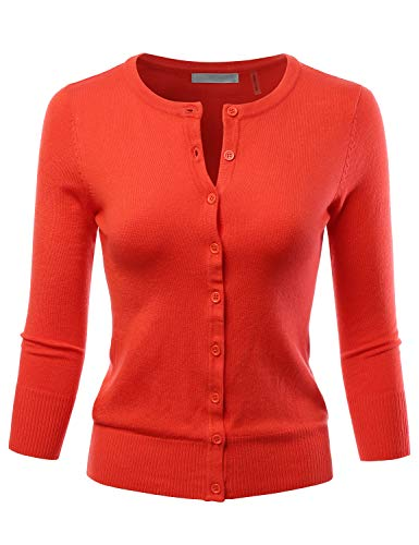 LALABEE Women's 3/4 Sleeve Crewneck Button Down Knit Sweater Cardigan Fiesta S ()