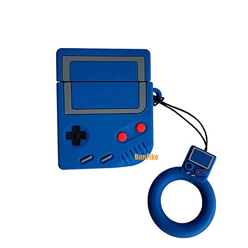 (UnnFiko Game Boy Shape AirPods Case, 3D Cartoon Soft Silicone Protective Mini Bag Cute Retro Creative Airpods1 & 2 Stand Cover with Finger Loop (Game Blue, Airpods 1 & 2))