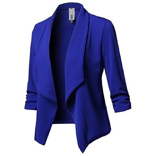 Coats Front Blue Women's Down Sleeve Collar Turn Pleated Long Solid RkBaoye Outdoor Open ZqP87