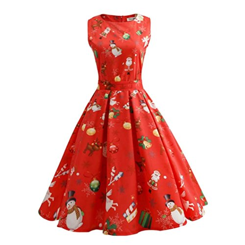 Women Dress Christmas Daoroka Women's Christmas Gifts Fit and Flare Cocktail Vintage Ball Gown Dress Sleeveless Pin Up Swing Lace Santa Claus Print Party Dress For Christmas/New Year (L, Red1)