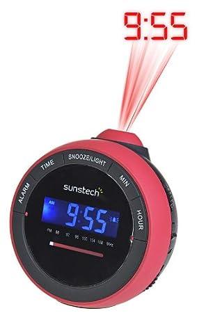 Sunstech FRAP1RD - Radiodespertador con proyector, color rojo