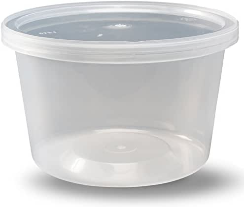 Deli Containers with Lids, 16 oz. Leakproof - Pack of 40 Plastic Microwaveable Clear Food Storage Container BPA Free, Premium Quality - by DuraHome
