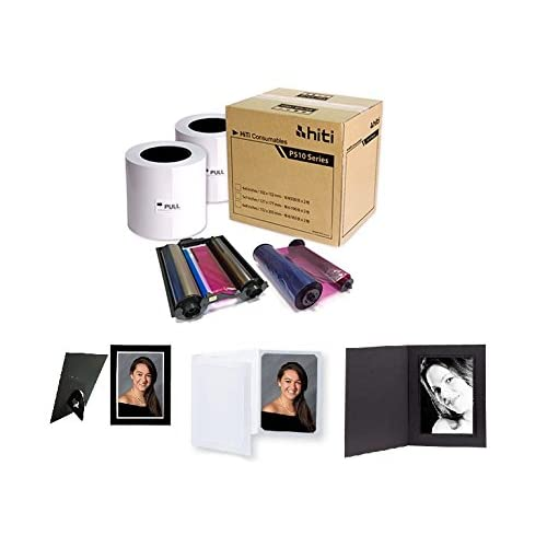 HITI P510 4X6 MEDIA KIT - PAPER & RIBBON - 660 PRINTS PER BOX. With FREE SAMPLES of our best selling photo folders (Eventprinters brand).