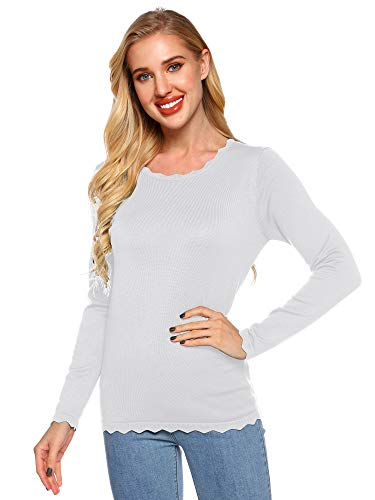 Women's High Elastic Long Sleeve Round Neck Pullover Soft Sweater Top