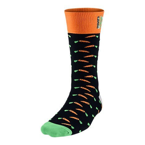Men's Nike Jordan What's Up Jock Crew Socks Black/Bright Mandarin/Green 658502-011 (L) by NIKE