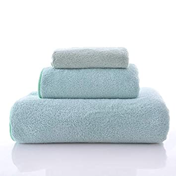 Fade Resistant Towels Mint Green Lint Free Happy Yue 3-Piece Luxury Hotel /& SPA Extra Soft Coral Fleece Towel Set-Extra Soft and Absorbent