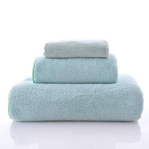 (Happy Yue 3-Piece Luxury Hotel & SPA Extra Soft Coral Fleece Towel Set-Extra Soft and Absorbent, Lint Free, Fade Resistant Towels (Mint)