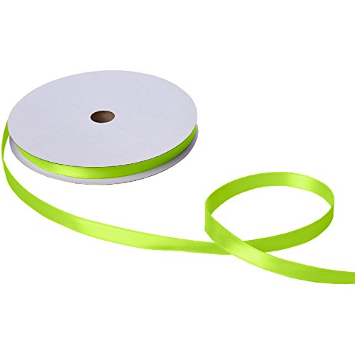 Jillson Roberts Bulk 5/8-Inch Double Faced Satin Ribbon Available in 21 Colors, Lime Green, 100 Yard Spool ()