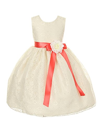 Cinderella Couture Girls Ivory Lace Dress with Coral Sash & Iv Flw 6 (1132)