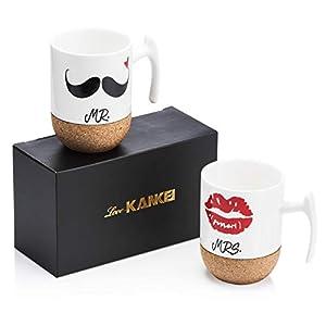 Love-KANKEI Mr Mrs Tasses à Café En Porcelaine Avec Le Siège En Bois, 300 ml, Cadeau de Noël, Mariage, Couple ou…