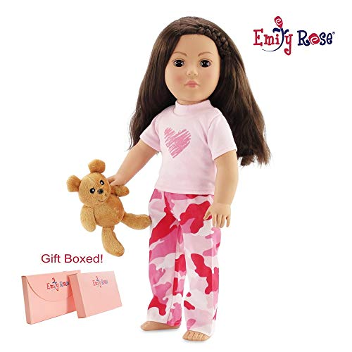 "Emily Rose 18 Inch Doll Clothes for American 18 Girl Dolls | Camo Heart Doll 18 Pajamas PJs with Teddy Bear | Doll Clothes 18 Our Generation 18"" Dolls from Emily Rose"