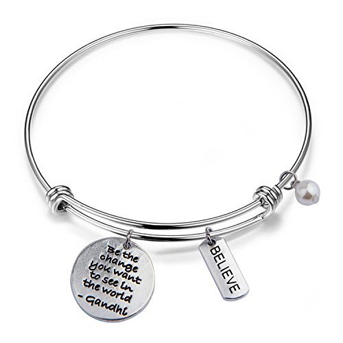 RQIER Gandhi Be The Change You Wish to See in The World Bracelet Expandable Wire Bangle Inspirational Jewelry Gift(Gandhi Quote)