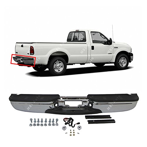 (MBI AUTO - Chrome, Steel Rear Step Bumper Assembly for 1999-2007 Ford F250 F350 Super Duty 99-07, FO1101141)