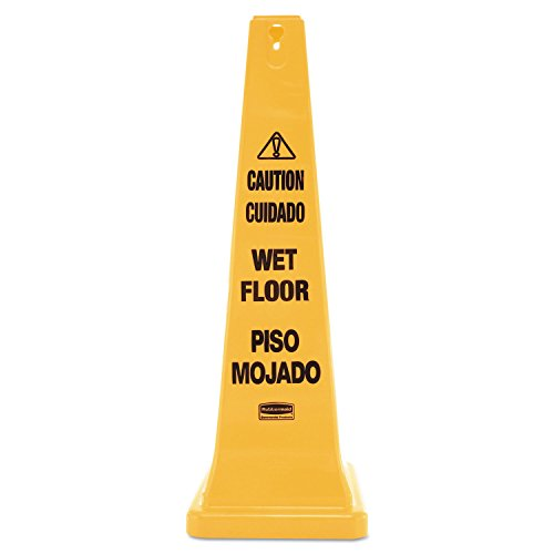 Rubbermaid Commercial 627677 Four-Sided Caution Wet Floor Yellow Safety Cone 12 1/4 x 12 1/4 x 36h ()