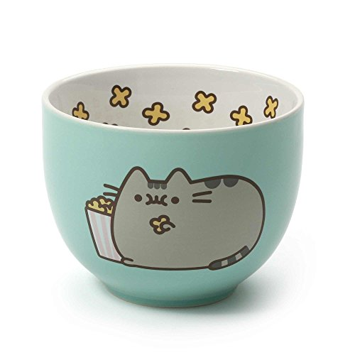 Pusheen by Our Name is Mud Stoneware Popcorn Snack Bowl, Green, 4'' by Enesco